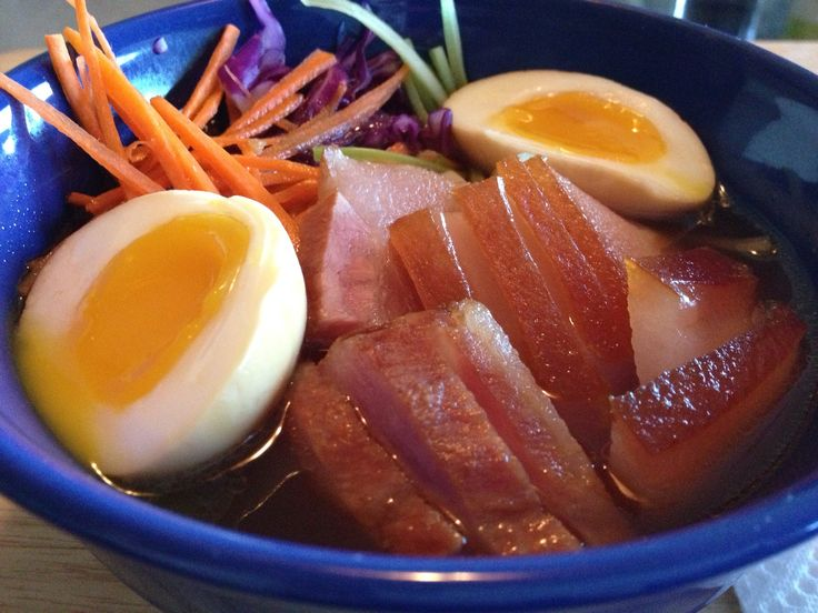 Chashu pork ramen with vegetables and marinated, soft-boiled egg.