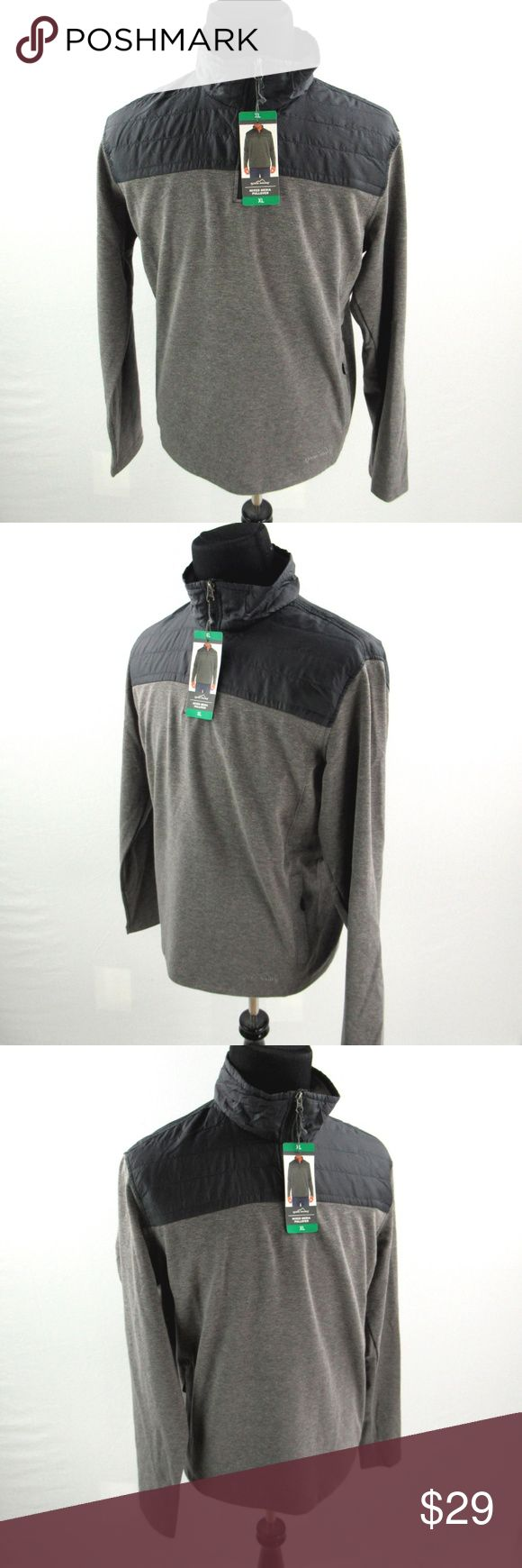 NEW Eddie Bauer Mixed Media Pullover Mens XL Shirt Gray 1//4 Zip Layer NWT