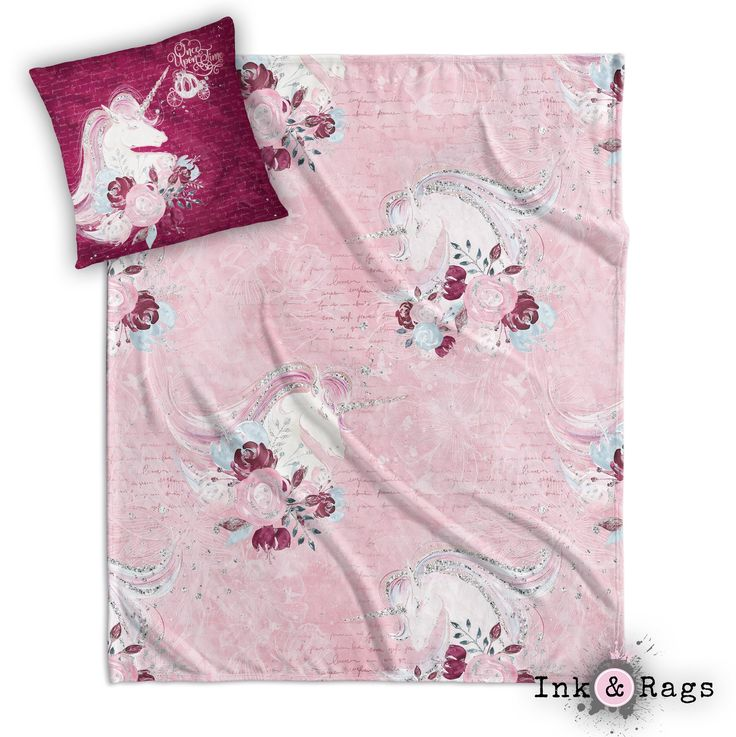 Once Upon a Time Unicorn Rose Nursery Throw and Pillow Set
