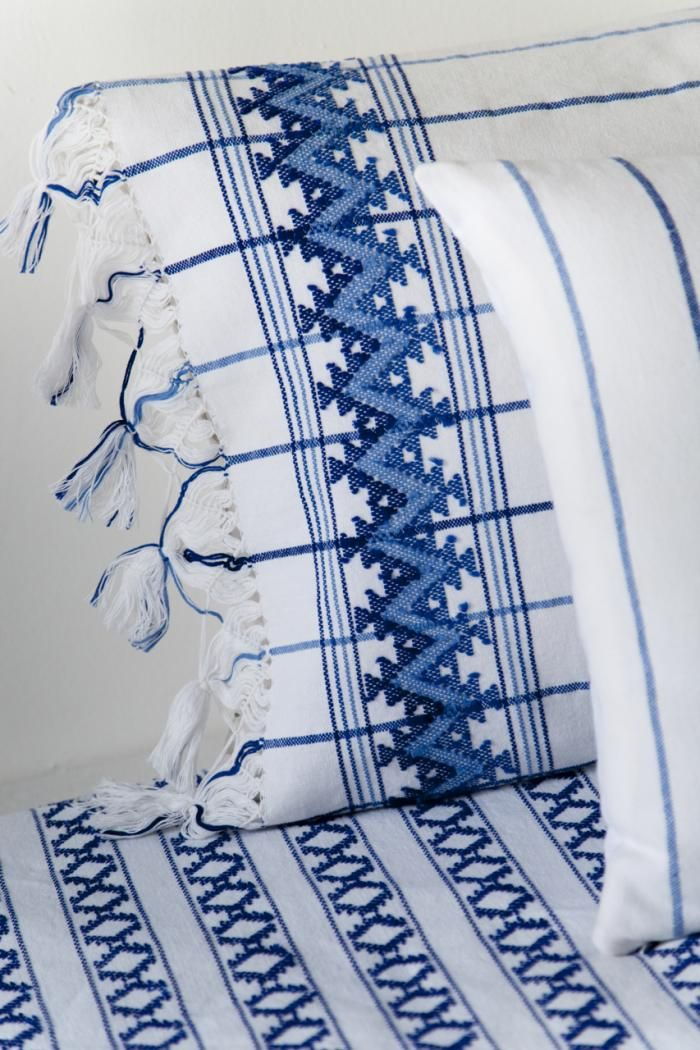 Maggie Galton indigo bedding from the coast of Oaxaca