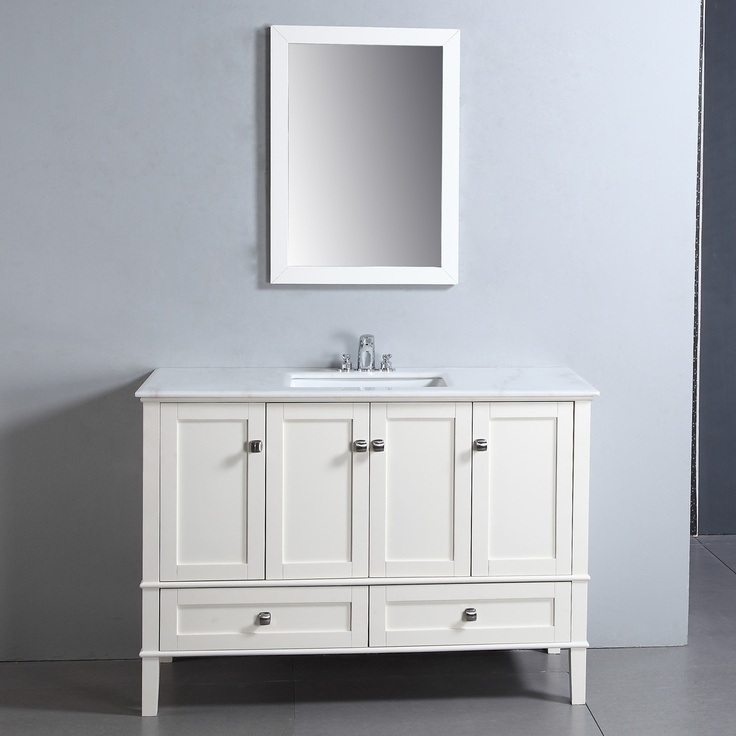 "$899.99 The Simpli Home Chelsea 48"" Vanity is defined by its casual contemporary look. This beautiful assembled vanity provides large storage area and includes White Marble top and a rectangular white vitreous china sink."