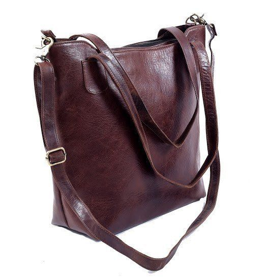 Women's Leather BROWN/BLACK COWHIDE LEATHER TOTE