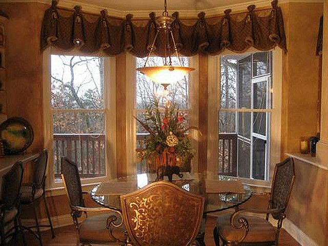crawford window treatment in breakfast nook and master bedroom but partnered there with long panels