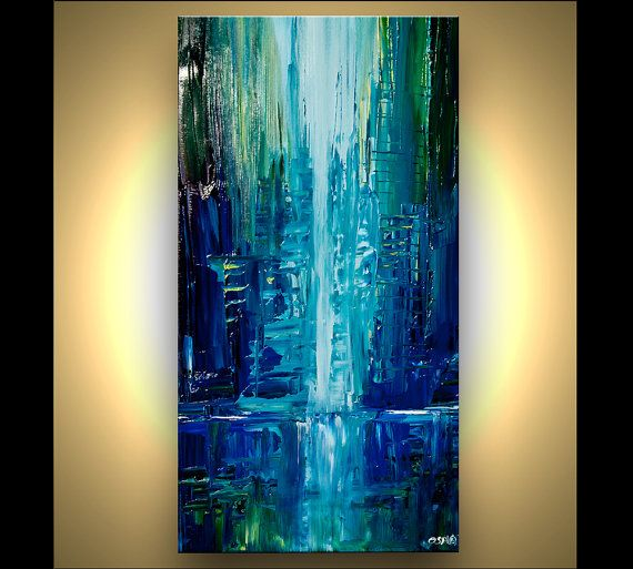 Modern 30 x 15 original city acrylic painting teal blue for Palette knife painting acrylic