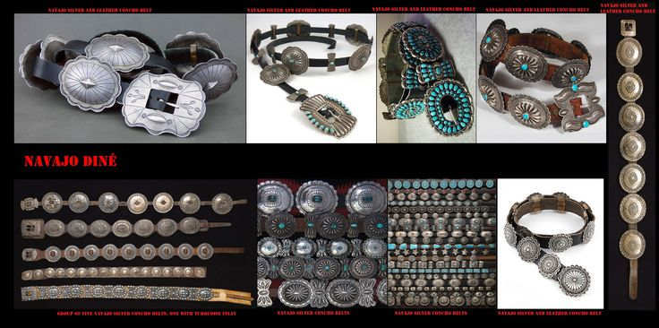 """Con l'argento, gli artigiani Navajo, producono molti e particolari ornamenti, come queste cinture con grosse fibbie e conchas. Se lo stile è quello ispano-moresco, il simbolismo che si cela dietro questi ornamenti scaturisce dalla mitologia indigena. I Navajo hanno iniziato a lavorare l'argento solo nel 19° sec. Delgadito o """"Old Smith,"""" (c. 1828-1918) potrebbe essere stato il primo Navajo ad aver imparato il mestiere da un argentiere messicano intorno al 1853"""