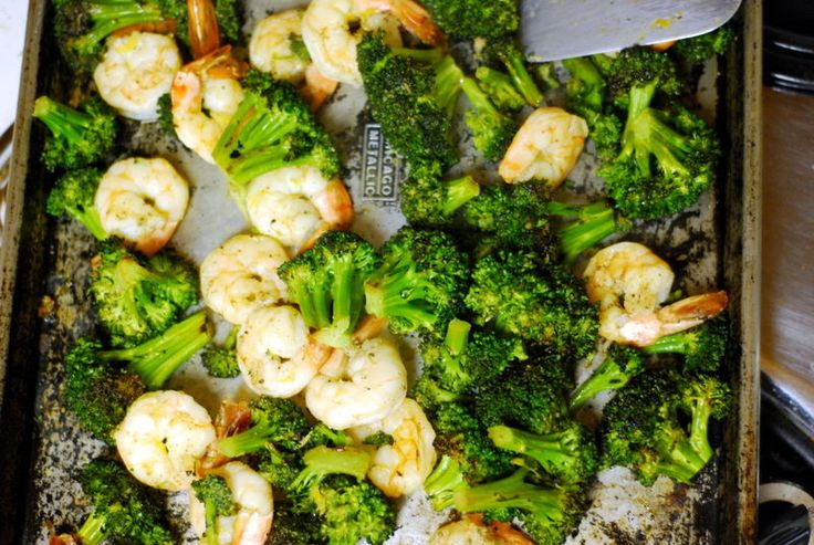 Roasted Shrimp with Broccoli. I love this super easy, healthy supper, and my kids eat it, too. Interesting seasoning that I would have never put on shrimp. I half the oil to keep it low-calorie.