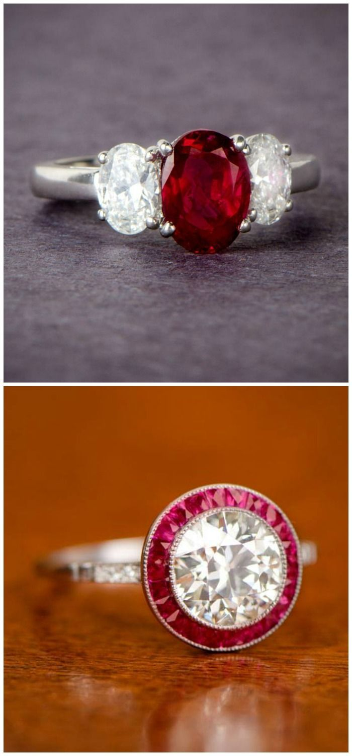Beautiful engagement rings featuring rubies, from Estate Diamond Jewelry.