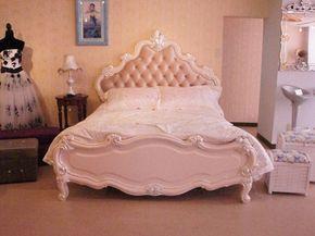 輸入家具のローマンディール LY-LS16-1500-BEDロココ調高級ベッド(マットレス付)