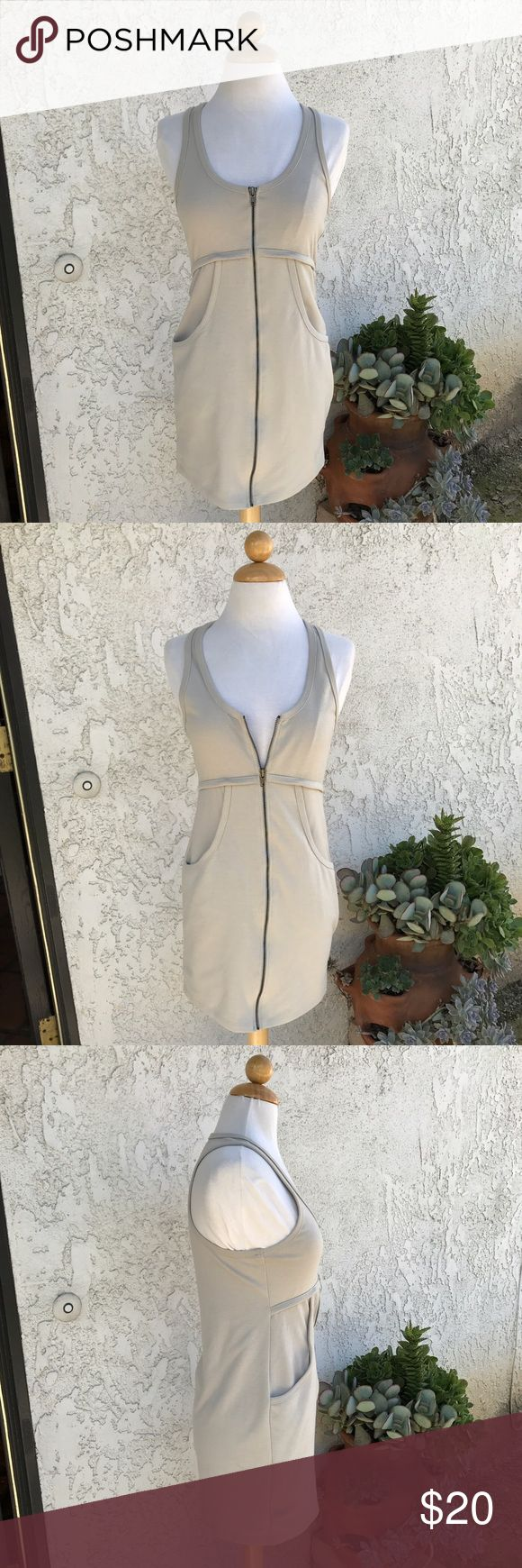 Honey Punch cream nude zip-up dress Honey Punch cream nude zip-up dress in a size medium. Such a cute causal dress to wear out. Great condition! Honey Punch Dresses