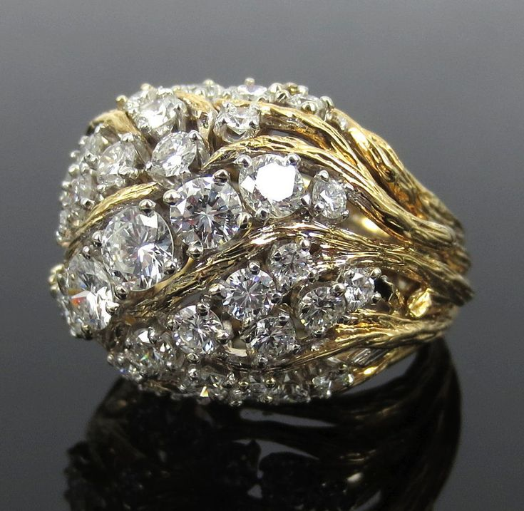 1960's David Webb 4.50ct Diamond Platinum & 18K Yellow Gold Tendrill Dome Ring #DavidWebb