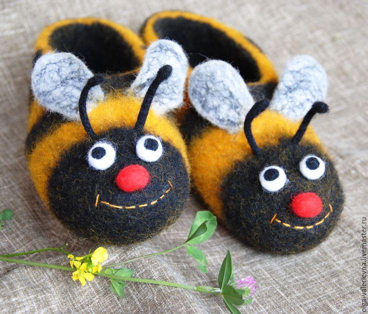 Купить Тапочки Пчёлы. - желтый, пчела, пчёлка, пчёлы, тапки, тапки из войлока, тапки валяные