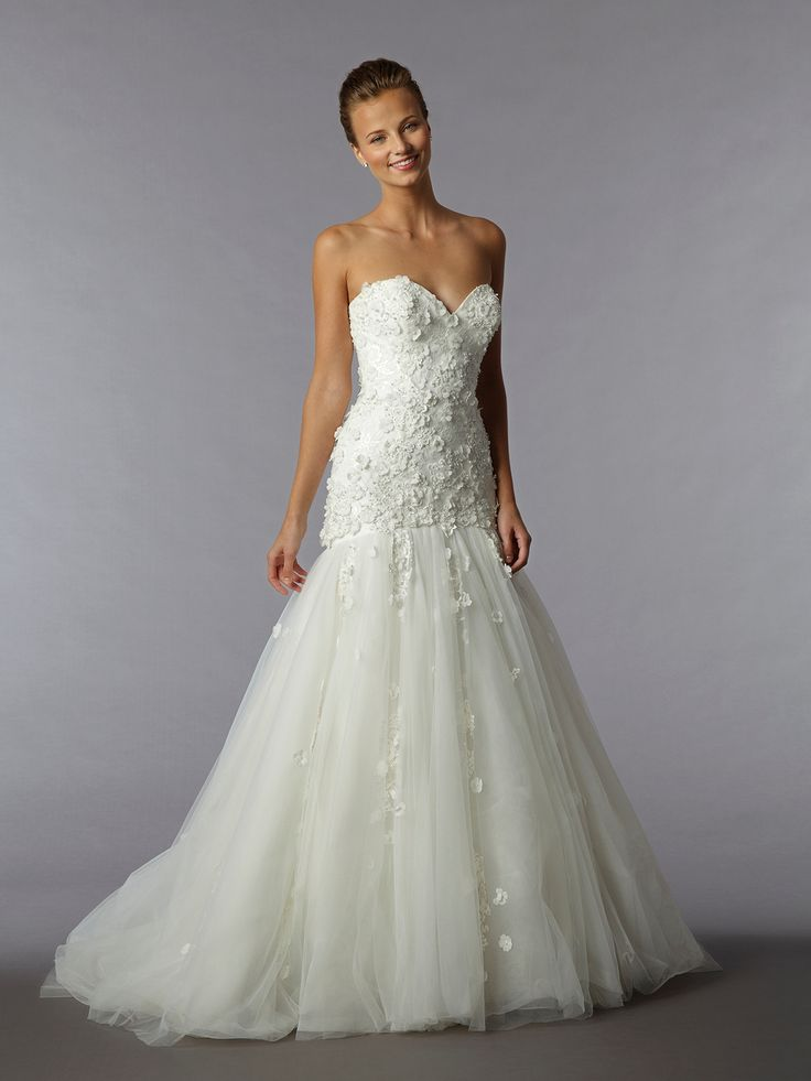 Cute Bridal Gowns Dennis Basso Mermaid Wedding Dress with Sweetheart Neckline and Dropped Waist Waistline from Kleinfeld