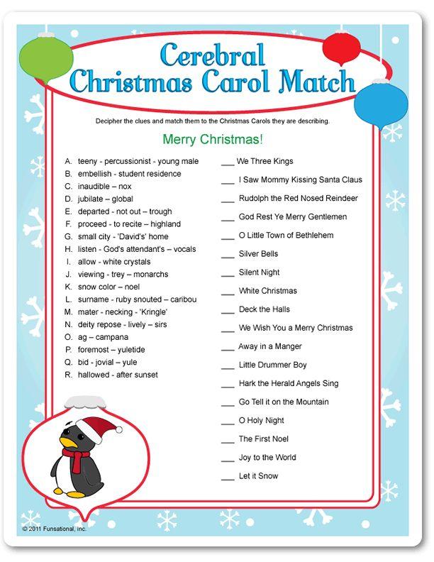 Games holiday games carol match christmas fun christmas games