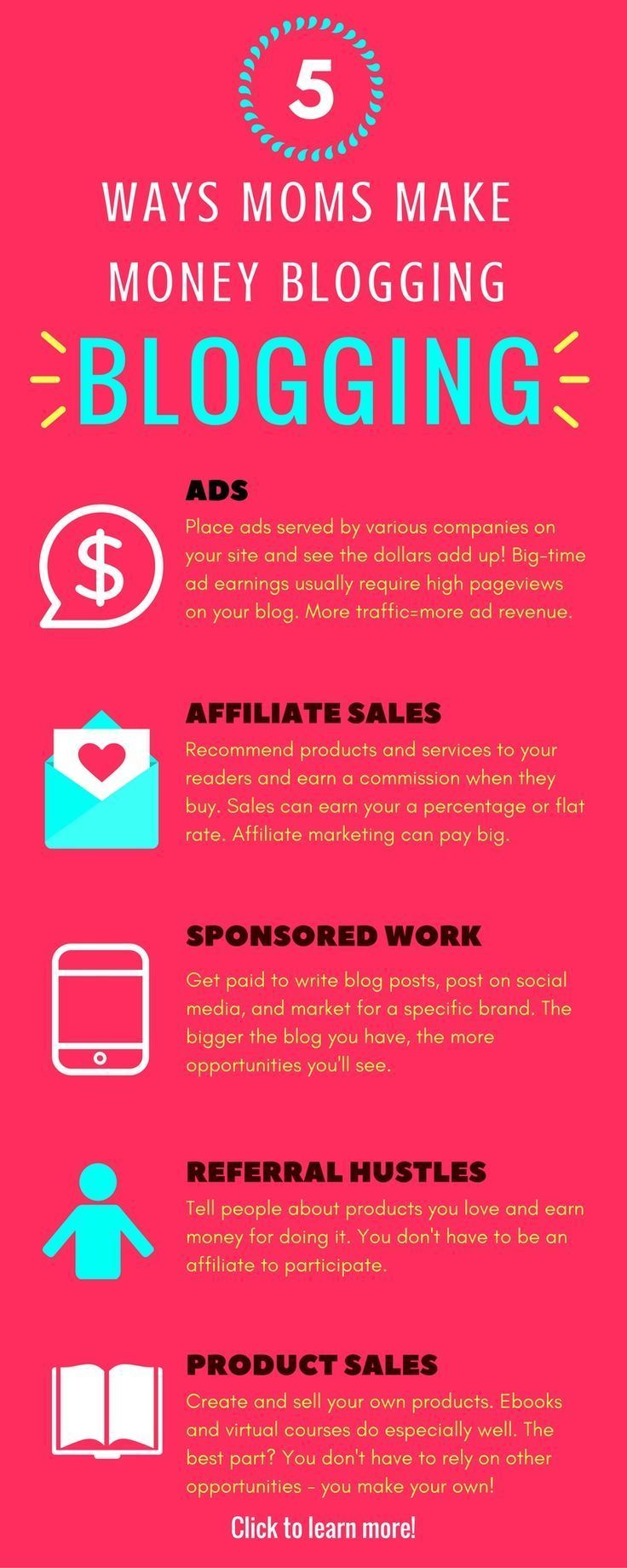 Looking for a way to make money online, from home? Here are 5 ways moms all over are making money blogging. Yep, you can do it too!