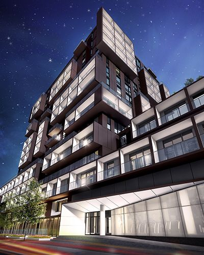 SQ2 Building Night Time Rendering