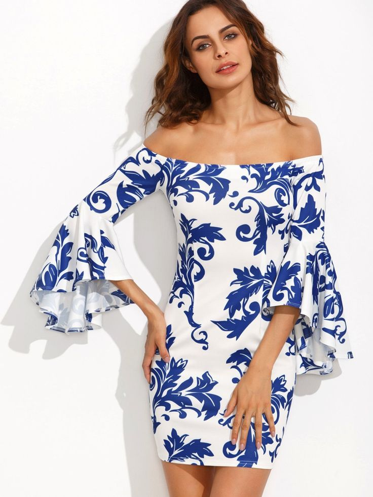 Porcelain Print Bardot Fluted Sleeve Dress