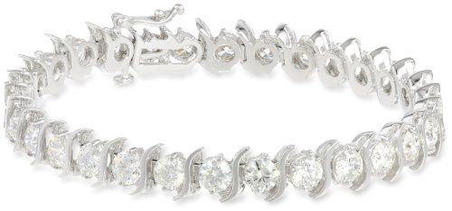 18K White Gold S-Link Tennis Bracelet (10 cttw, H-I Color, SI2-I1 Clarity), 7 Domestic.  #AmazonCuratedCollection #Jewelry