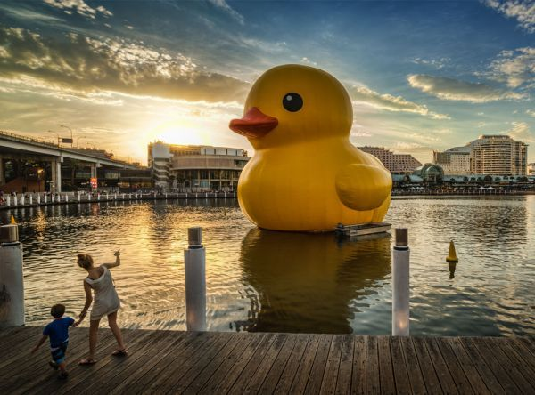 """Rubber Duck,"" a floating sculpture by Dutch artist Florentijn Hofman, has traveled the world's waterways."