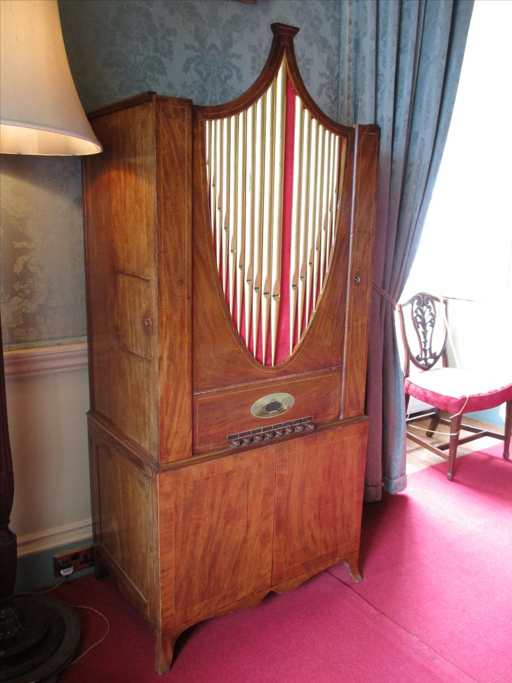 Mahogany chamber organ (barrel organ), inscribed 'Broderip and Wilkinson'.  Dated between 1789-1808.  Blue Drawing Room, Culzean Castle.