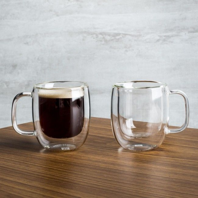 Perfect for café au lait, black coffee, tea and more, these glasses are a stylish and functional addition to any glassware collection. Mouth-blown by skilled glassblowers, each double-walled glass insulates its contents-so cold drinks stay cold and hot drinks stay hot longer.