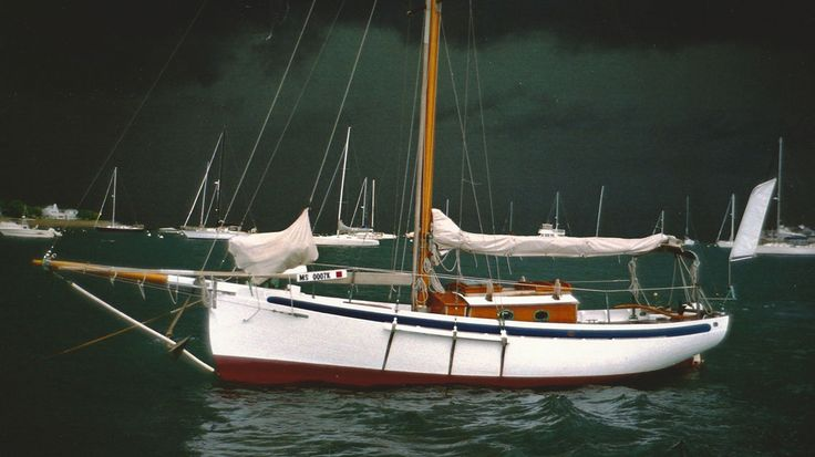 """"""" Seraffyn """"  ….  The 24-1/2 foot sloop, designed by Lyle Hess and built by Lyn and Larry Pardy in the 1960's, who went on to sail her around the world !!  ….  She now has a new owner and is homeported in Marshfield, MA."""