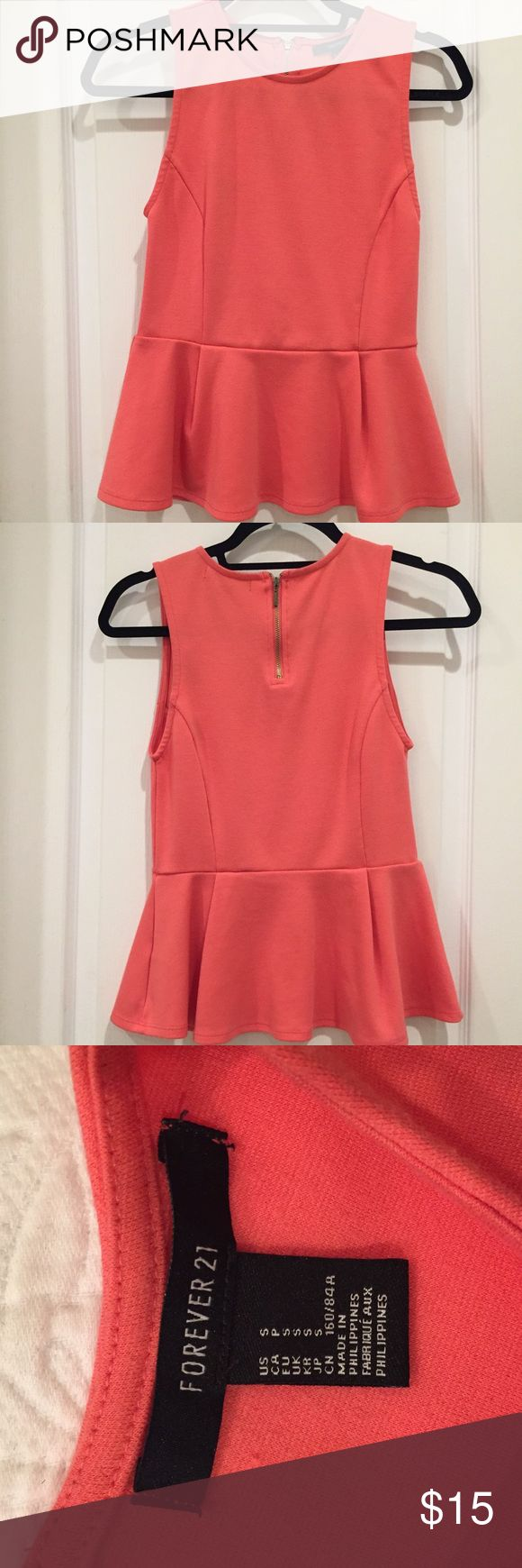 Peplum Top Forever 21 salmon colored peplum top. Size small. Zip closure in back. Forever 21 Tops