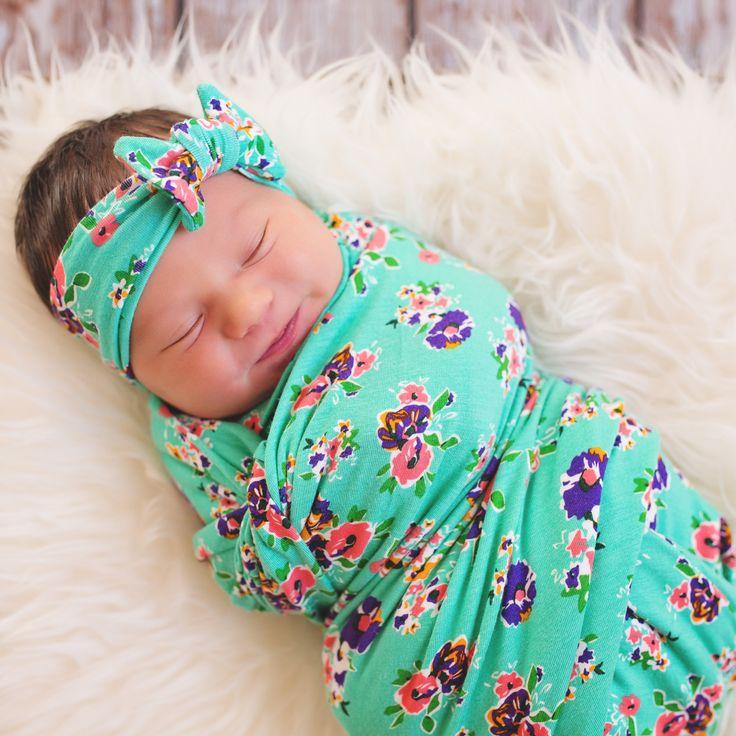 Jade Blossoms Swaddle Blanket & Headband Set