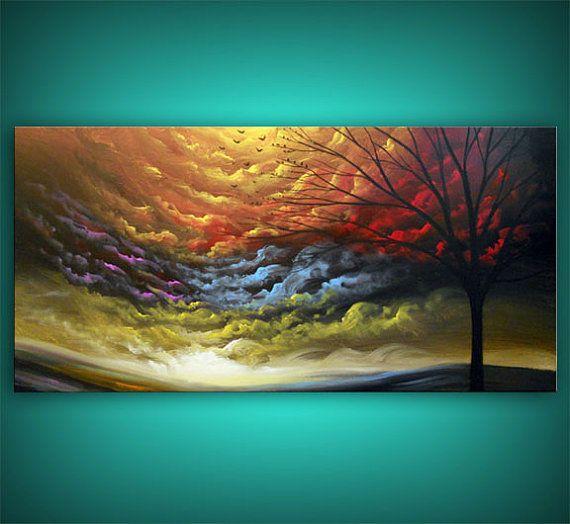 art tree painting tree painting cloud painting large by mattsart