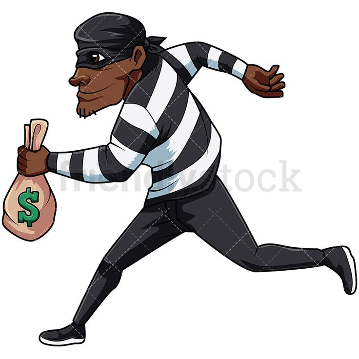 Black Thief Running Away With Sack Of Money: Royalty-free stock vector illustration of a male bandit wearing a mask and a black bandana on his head, running fast while holding a bag full of dollars and smiling like a crook. #friendlystock #clipart #cartoon #vector #stockimage #art #thief #criminal #bandit #burglar #robber #outlaw #crook