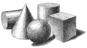 Very commonly utilised as drawing objects, these shapes are effectively represented through random hatching.