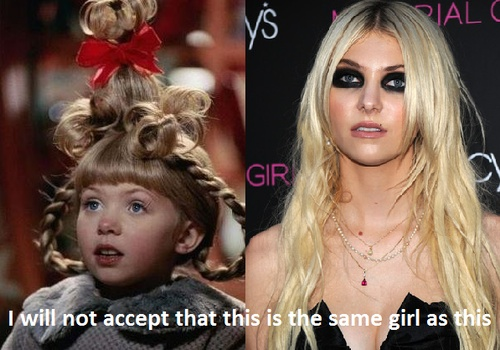 oh my heck.: Taylors Momsen, Crazy Hair, Cindy Loo, Mind Blown, Funny Pictures, Cindy Lou, Raccoons, Funny Christmas Photo, Gossip Girls