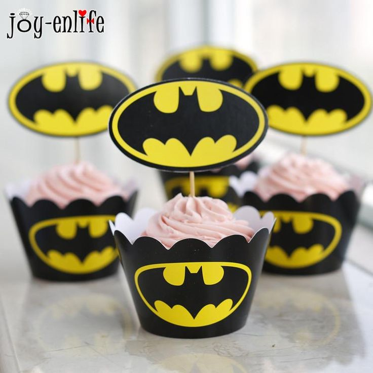 [Visit to Buy] 24pcs paper batman party supplies birthday cupcake wrappers toppers set for baby shower child kids birthday party supplies #Advertisement