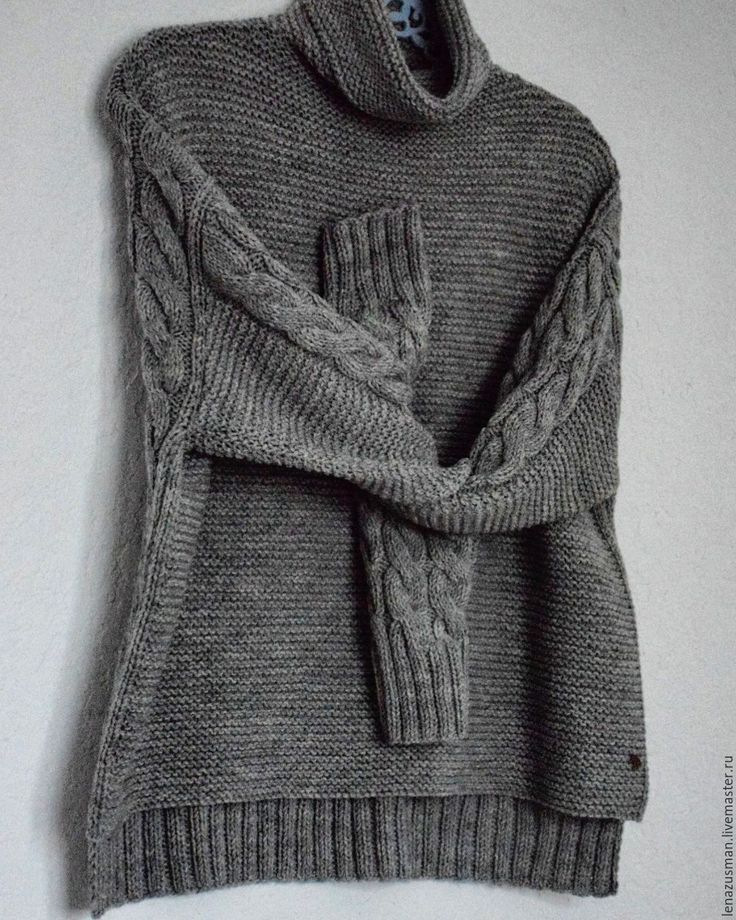 Купить В НАЛИЧИИ! свитер жен.42-44р. - серый, однотонный, свитер вязаный, свитер