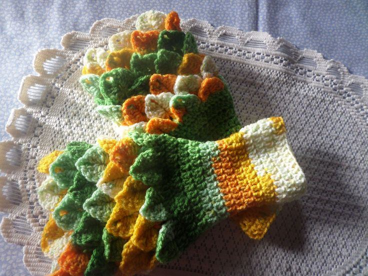 fingerless gloves, wristwarmer gloves, winter accessory, fingerless mittens, green and gold,  crocodile stitch, winter gloves,  hand crochet by MaddisonsRainbow on Etsy