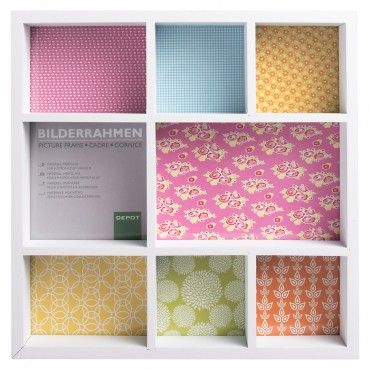 DiY Idee - Ikea Bilderrahmen & Stoffreste  Bilderrahmen Setzkasten Holz weiß ca. L:25,5 x T:4,5 x H:25,5 cm