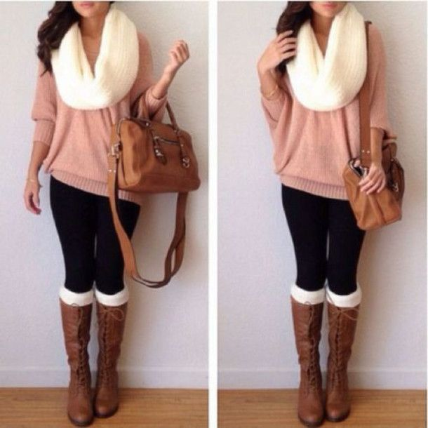Oversized knit scarf with a oversized sweater and riding boots - perfect back to campus outfit for fall!