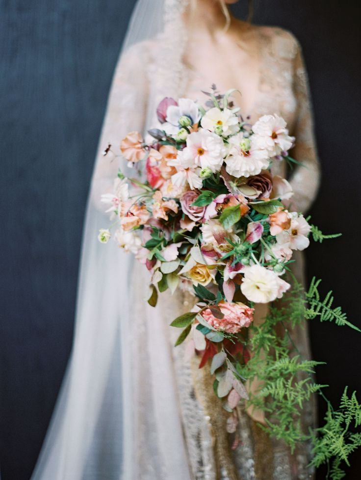 Colorful Fall Wedding Floral Design With Dusty Pink Mauve Peach