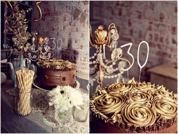 Dolce Far Niente: Festa de Aniversário de 30 Anos - Marrom e Dourado...