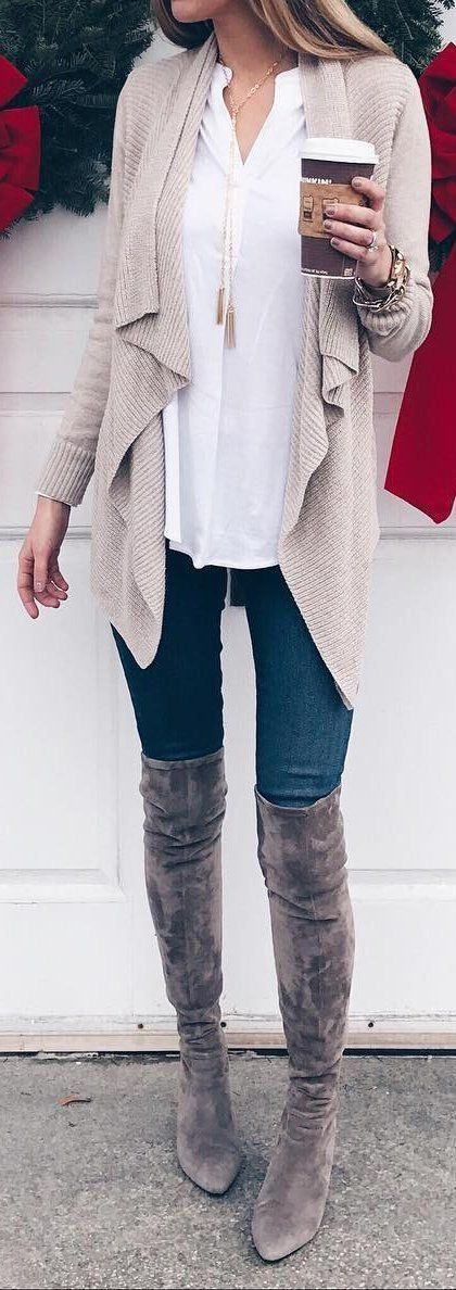 #fall #outfits women's grey knit long cardigan