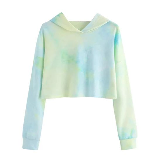 Autumn 2018 Harajuku Sweatshirt Hoodies Women Streetwear Tie Dye Crop Top Hoodie Korean Style Woman Clothes Moletom