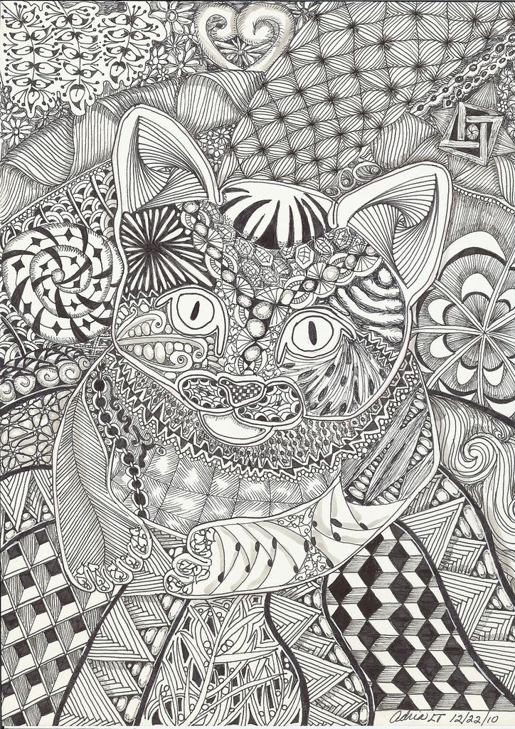 Kitten on a Mat Abstract Doodle