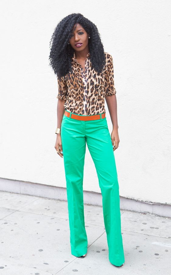 Leopard Print Shirt + Green Wide Leg Trousers