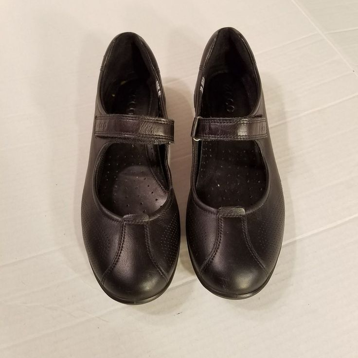 ECCO Black Leather Adjustable Flat Mary Janes Womens EURO 41 US 10 10.5M #ECCO #MaryJanes #Casual