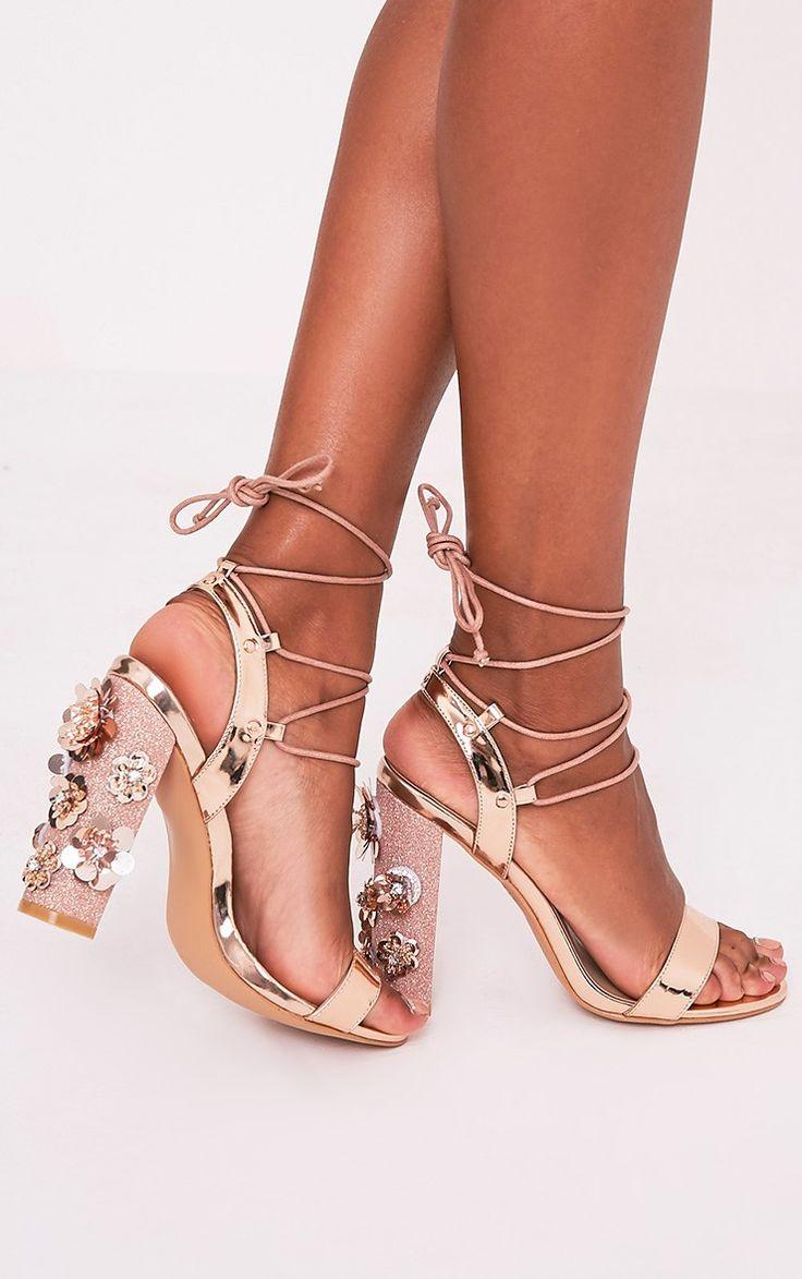 Evy Rose Gold Embellished Block Heeled Sandals - High Heels ...