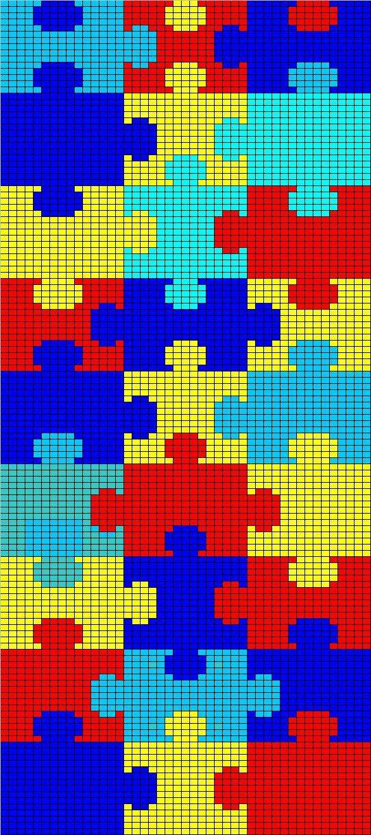 crochet puzzle block blanket   chart