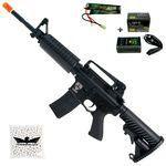Kit Rifle De Airsoft Elétrico Aps M4a1 Style Blowback Full Metal + Bateria E Carregador Lipo + 500 B
