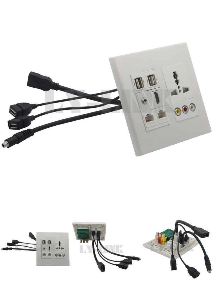 [Visit to Buy] 120*120 Universal power socket+3RCA+ hdmi +3.5mm audio+ USB+RJ45 wall plate with back female to female short cable #Advertisement