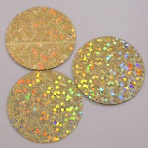Extra Large 50mm Gold Hologram Effect Sequins.