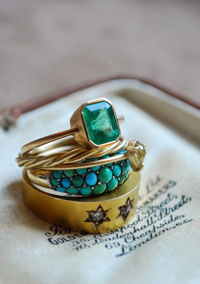 Gorgeous rings ...Antique Victorian 15k & Silver Turquoise Pave Ring, Rebecca Overmann Fine 14k Twist Band Ring, Rebecca Overmann 14kt and Pale Yellow Diamond Ring, Gillian Conroy Emerald Ring.