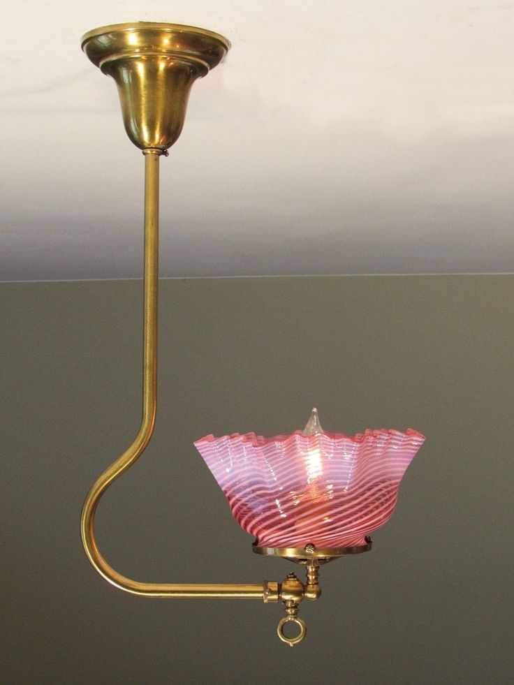 Antique Gas Light Fixture With Cranberry Swirl Shade   RESTORED! | EBay